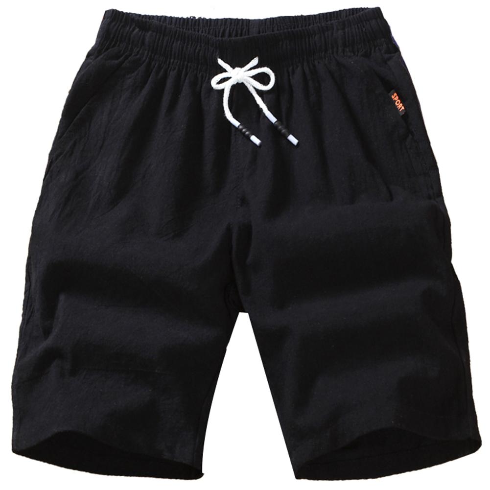 Men Soft Cotton Loose Casual Shorts Middle Length Pants black_L