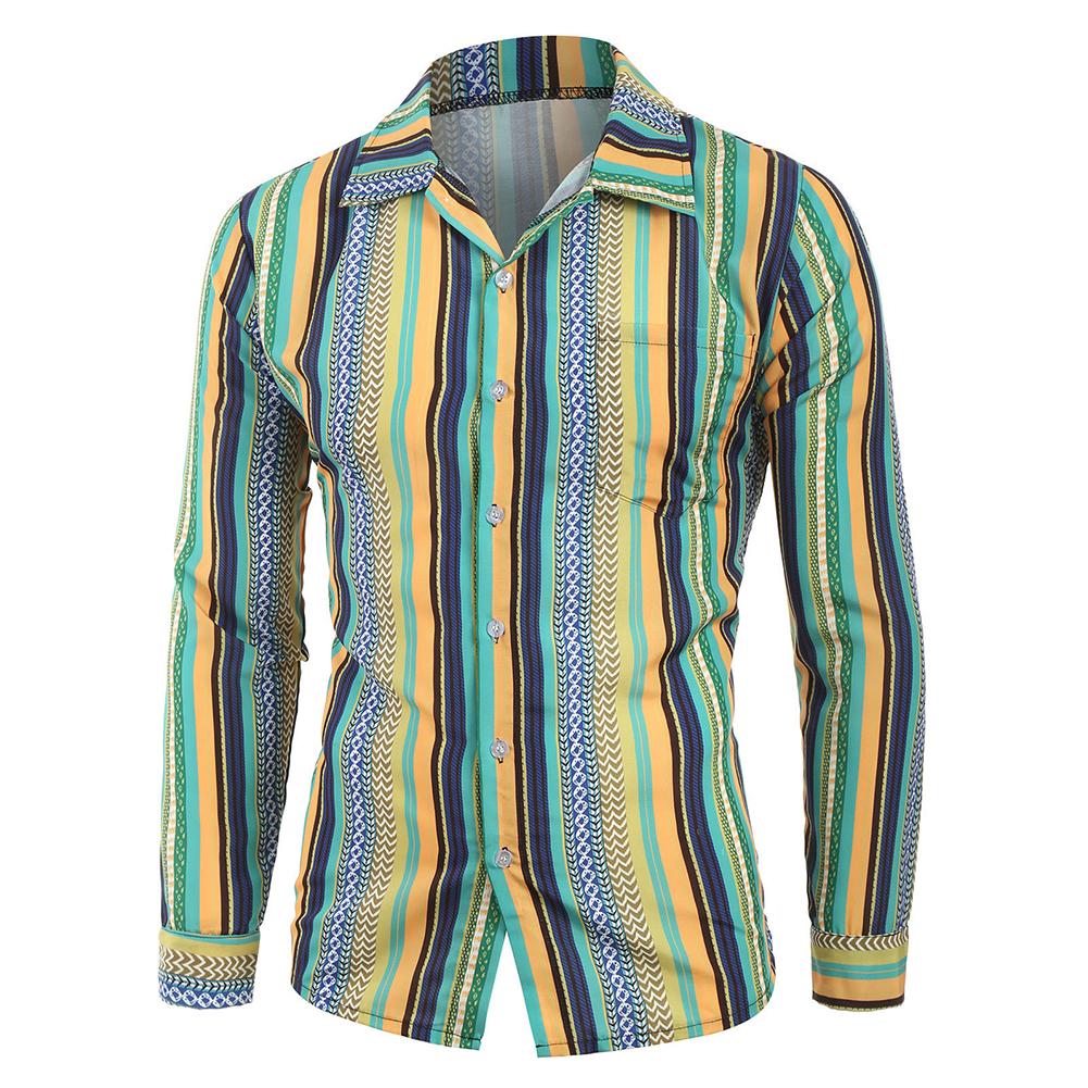 Men Casual Long Sleeve Digital Printing T Shirt Cardigan green_M