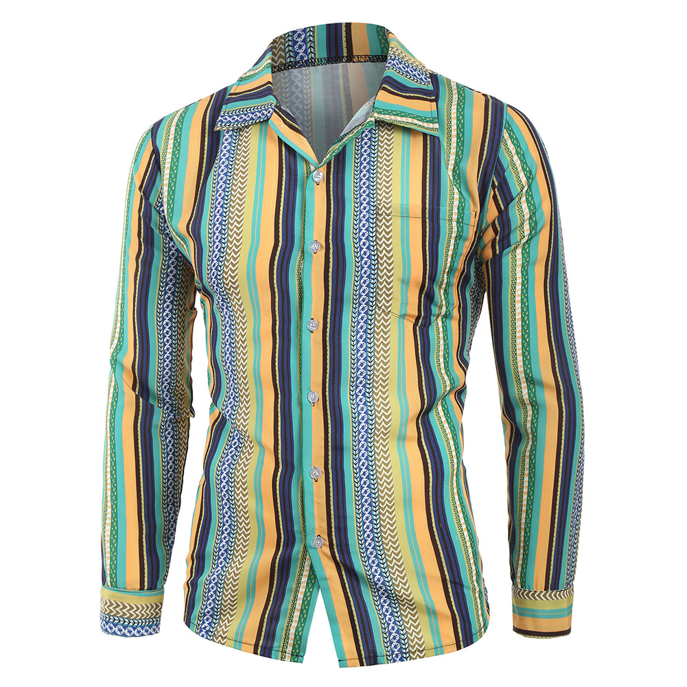 Men Casual Long Sleeve Digital Printing T Shirt Cardigan green_L