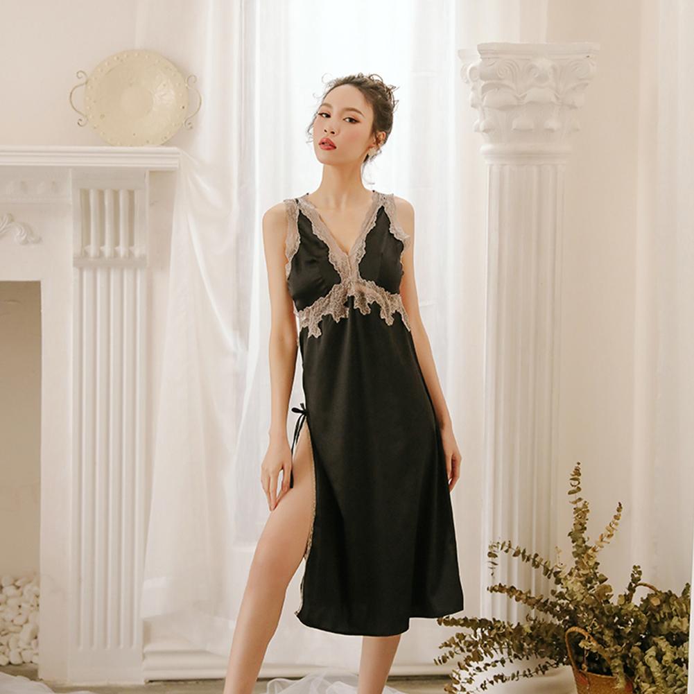 Lady Lace Side Split V-neck Backless Sling Nightdress + Briefs Sexy Temptation Lingerie Underwear black_One size