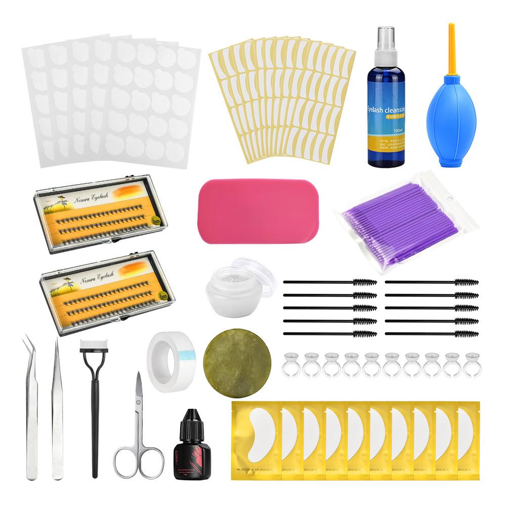 Eyelashes Extension Practice Exercise Kit 0.07 Eye Makeup Set false eyelashes Grafting Eyelash Tools Kit  Suit