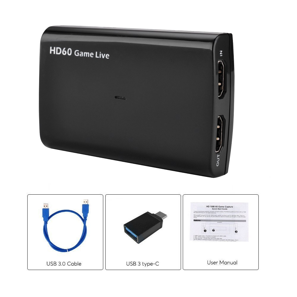 USB3.0 Cable HD60 Capture Card UVC with Microphone Input to Support 4k30fps Input Output black