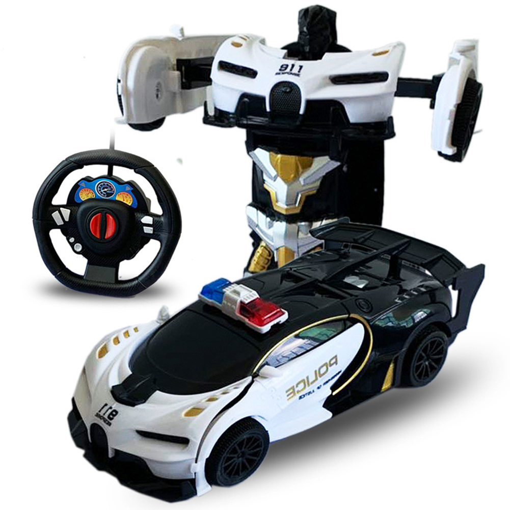 1/24 Deformation Remote Control Car Electric Robot Children Toy Gift Black and white car_1:24