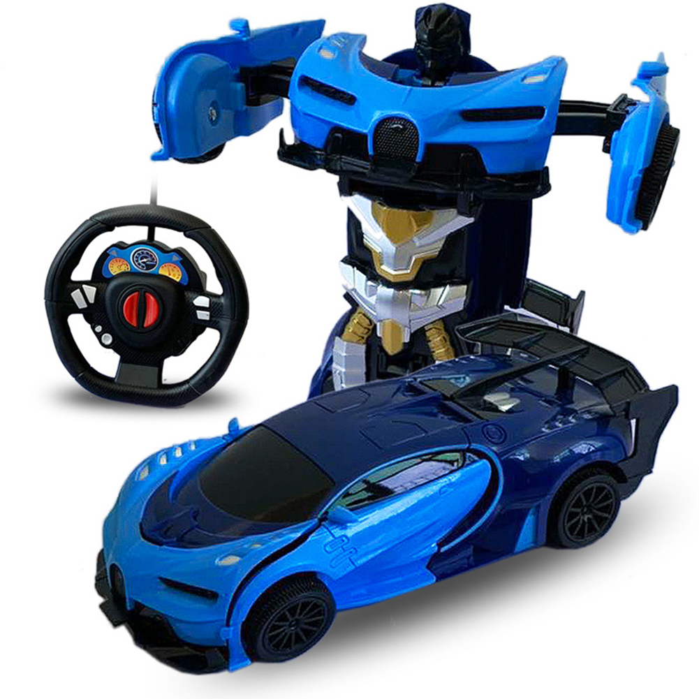 1/24 Deformation Remote Control Car Electric Robot Children Toy Gift Double blue_1:24