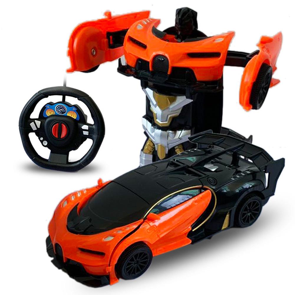1/24 Deformation Remote Control Car Electric Robot Children Toy Gift Orange+black_1:24