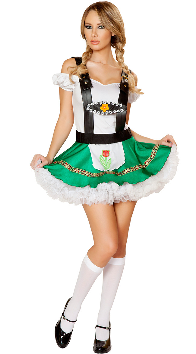 Women Suspender Dress Sexy Cosplay Maid Dress for Club Festival Party Dress green_One size