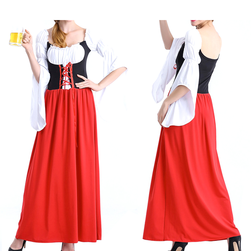 Female Maid Cosplay Dress Costume Retro Mandarin Sleeve Long Dress for Halloween Beer Festival  red_XL