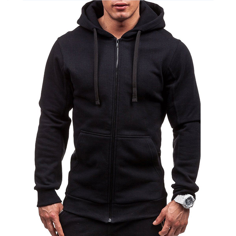 Men Warm Solid Color Zipper Slim Fleeced Hooded Sweatshirt black_L