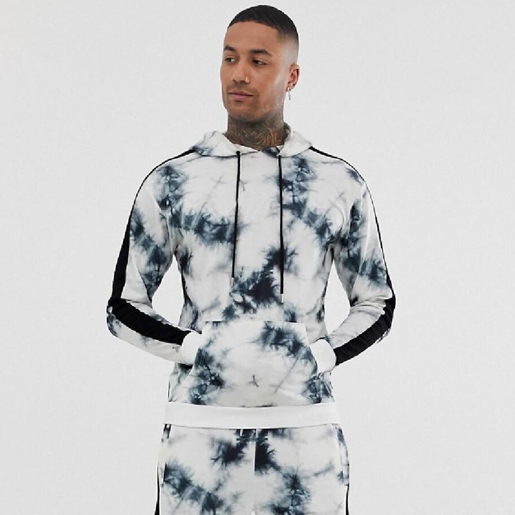 3D Digital Hoodie Leisure Sweater Floral Printed Gradient Color Top Pullover for Man H510 Top_L