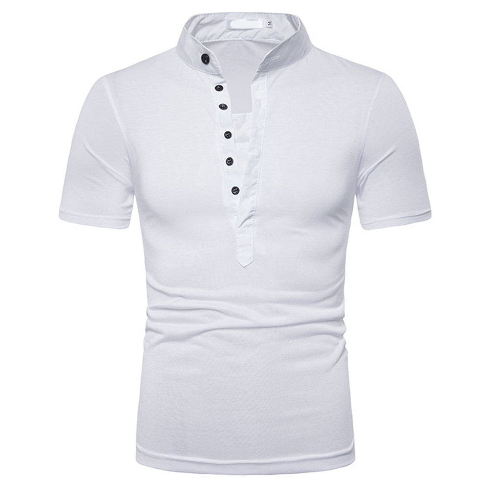 Fashion Men Slim Fit V Neck Short Sleeve Muscle Tee T-shirt  white_L