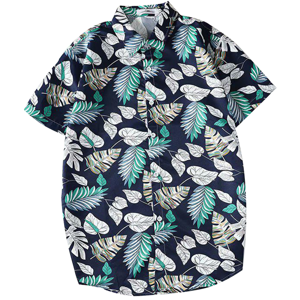 Men Women Printing Shirts Short Sleeve Floral Casual Blouse 8867 green_M