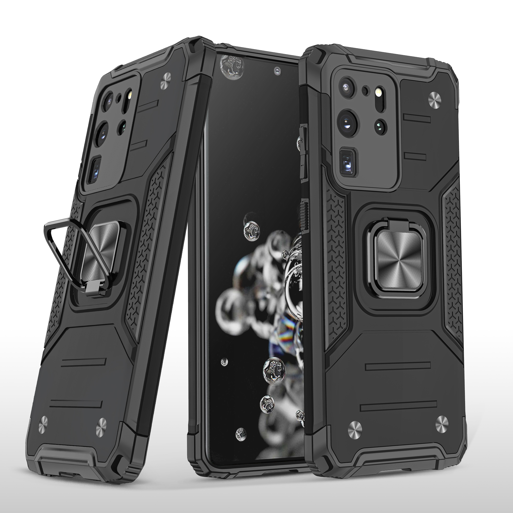 Mobile Case with Bracket for Samsung S20 Ultra Anti-drop All-inclusive  PVC bag black
