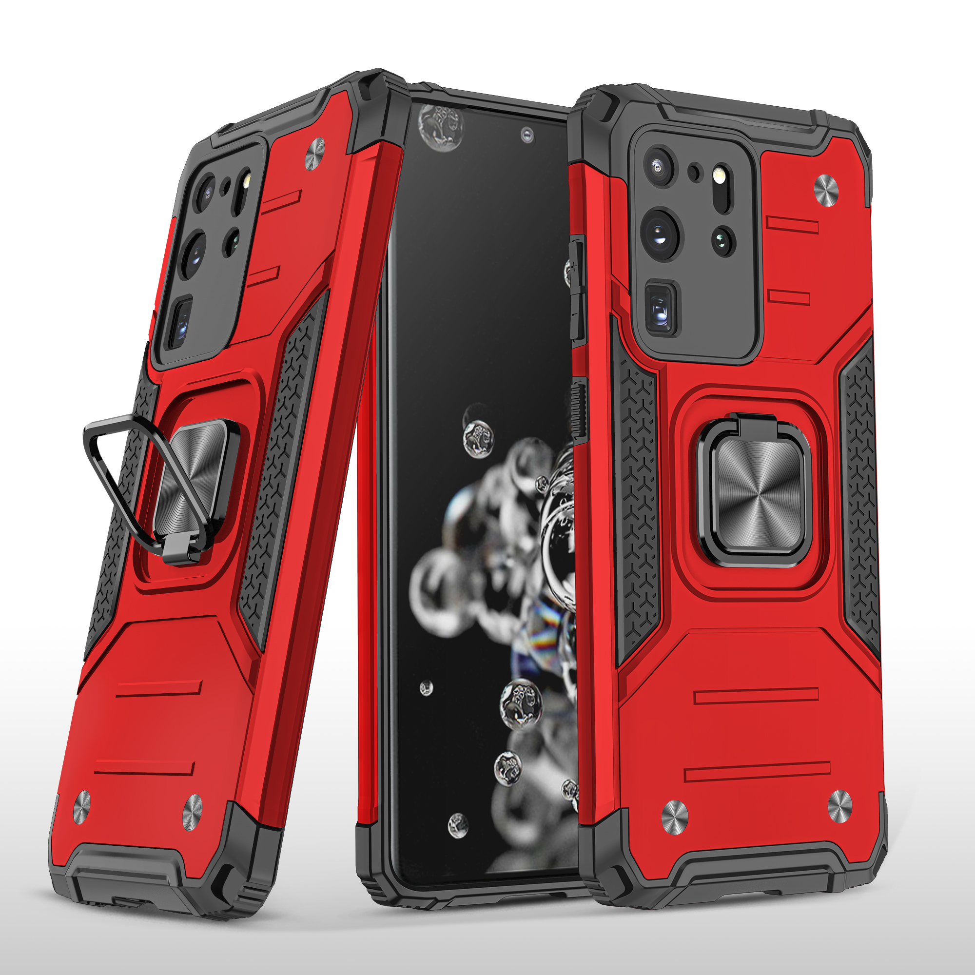 Mobile Case with Bracket for Samsung S20 Ultra Anti-drop All-inclusive  PVC bag red
