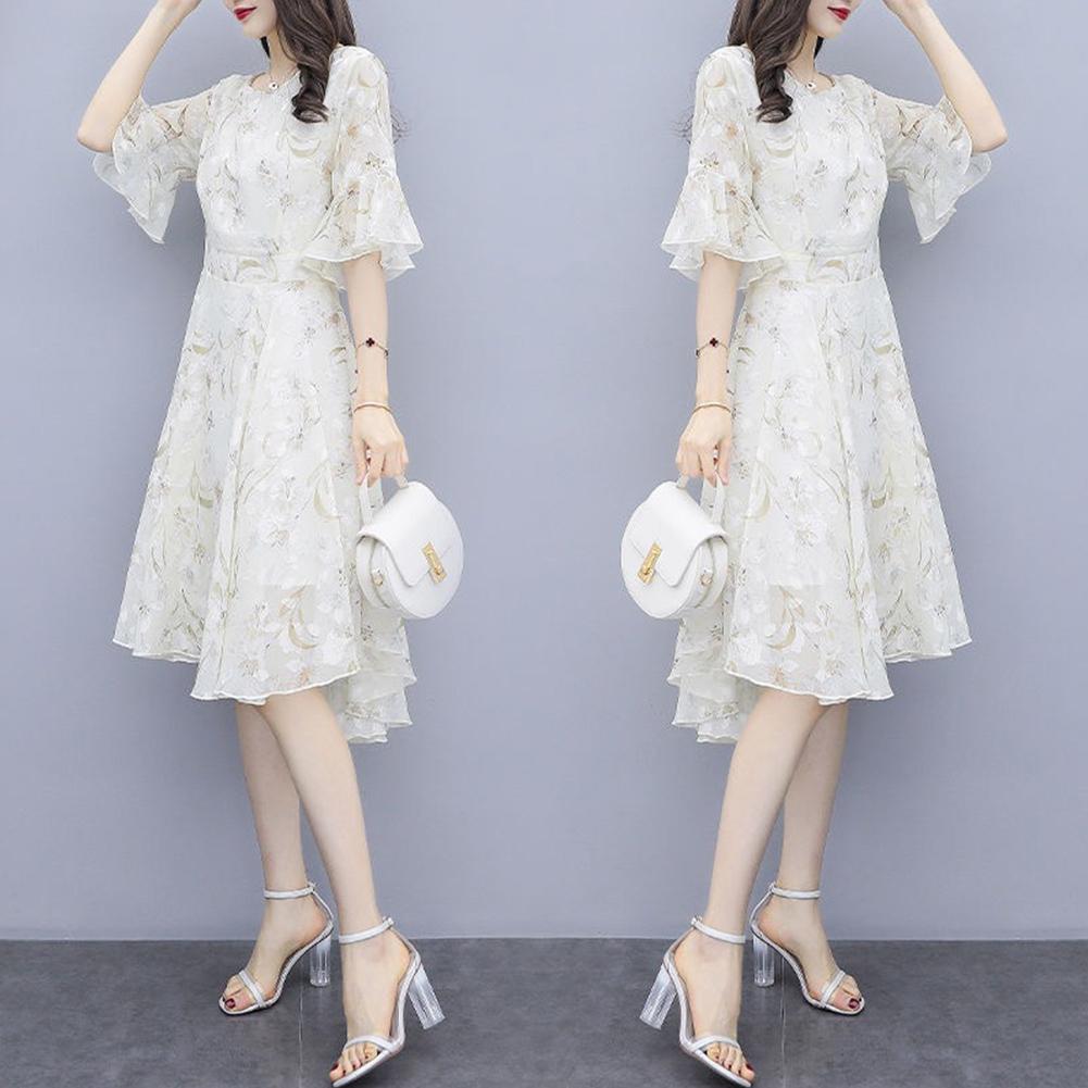 Women Floral Chiffon Dress V-collar Loose Waist Medium Fashion Dress apricot_S