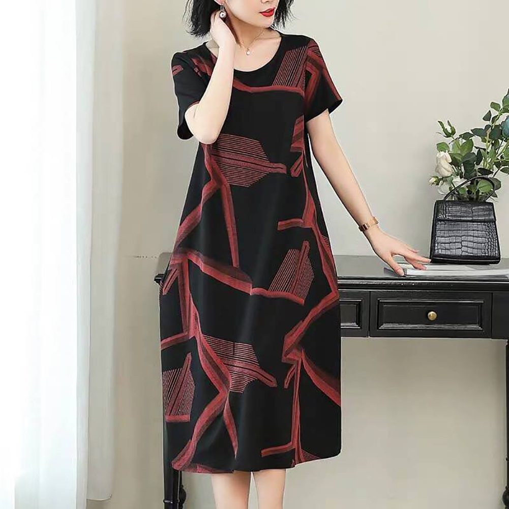 Women Casual Long Style Short Sleeve Printing Dress for Summer Wear red_3XL
