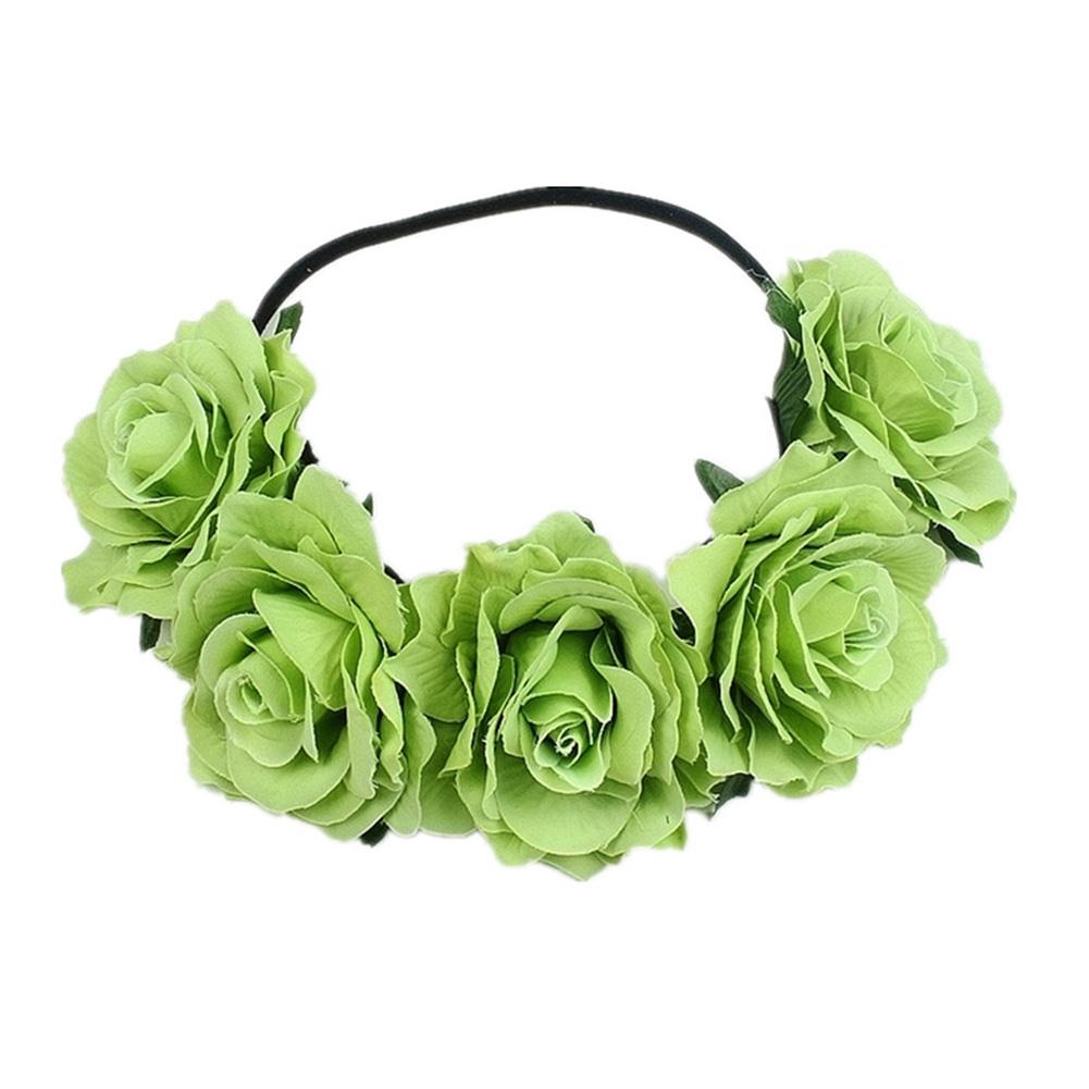 Artificial Flower Garland Rose Love Shape Wreath Headband Silk Rose Wedding Car Decor green