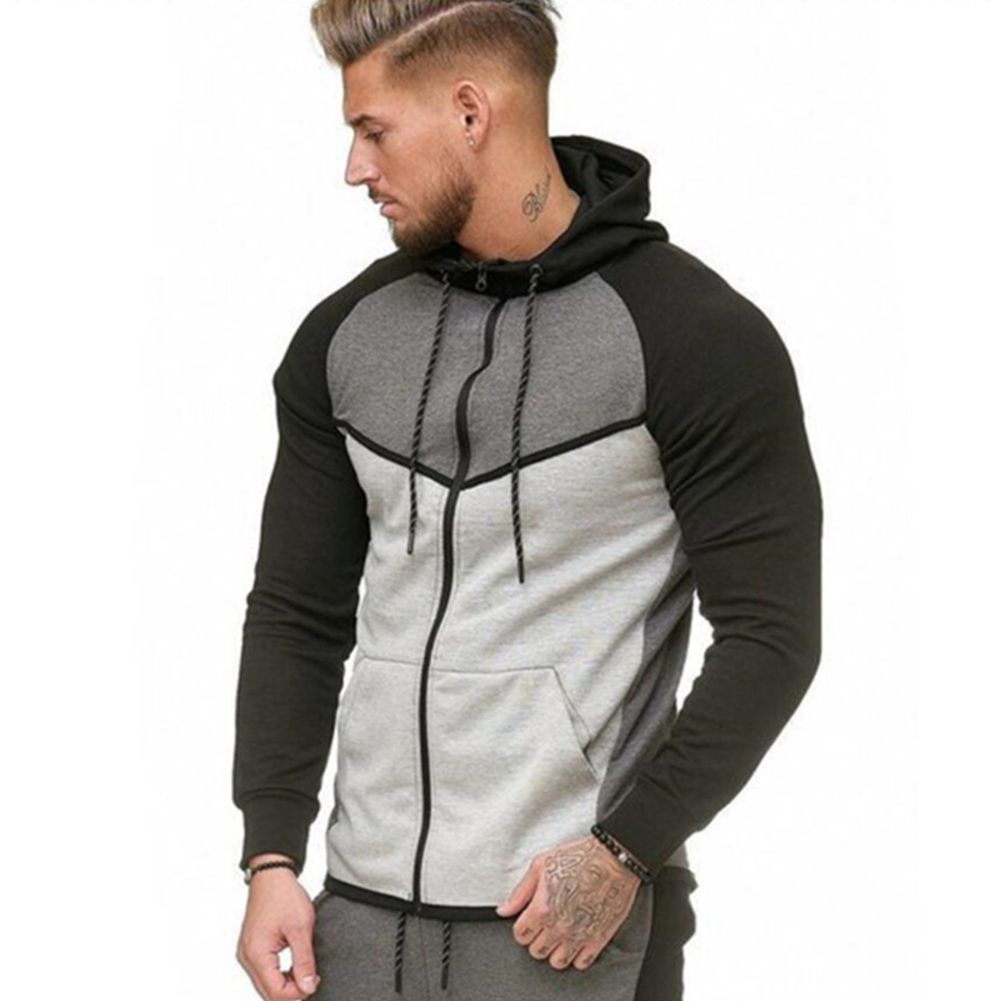 Men Stitch-color Sweater Fitness Long Sleeve Casual Hooded Hoodie Outdoor Sports Jacket  gray_XXL