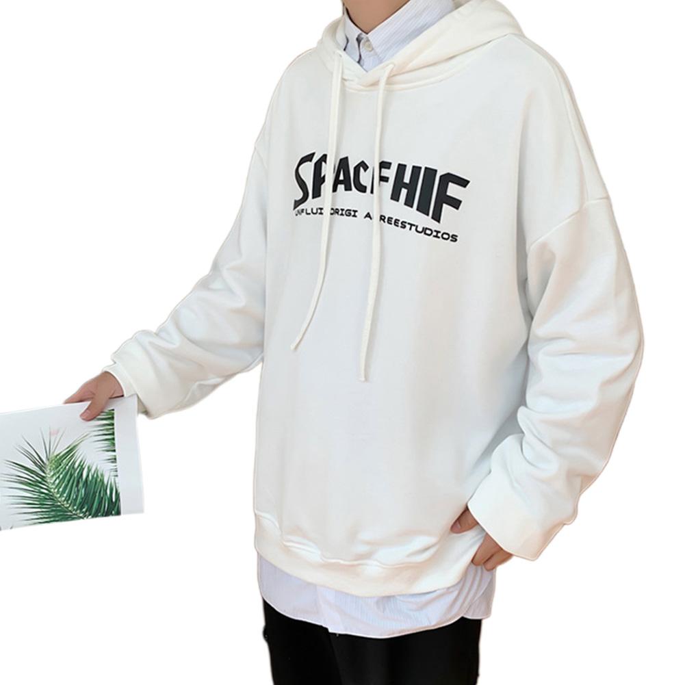 Men Women Hoodie Sweatshirt Printing Letter Fashion Loose Autumn Winter Pullover Tops White_3XL