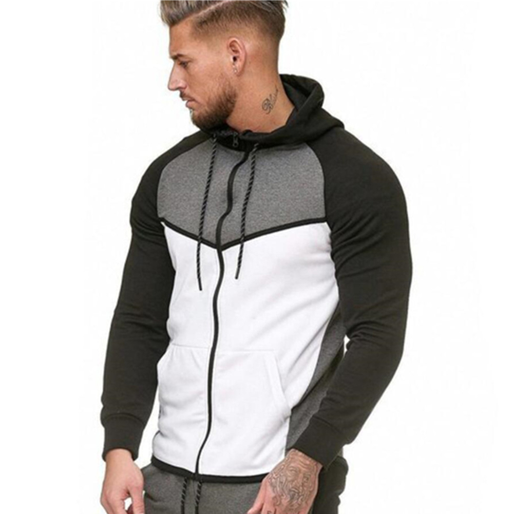 Men Stitch-color Sweater Fitness Long Sleeve Casual Hooded Hoodie Outdoor Sports Jacket  white_XXL