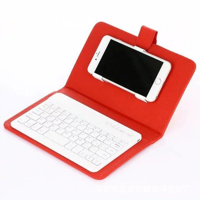 Portable PU Leather Wireless Keyboard Case for iPhone with Bluetooth Keyboard for 4.2-6.8 Inch Phones  red_Bluetooth keyboard + leather case
