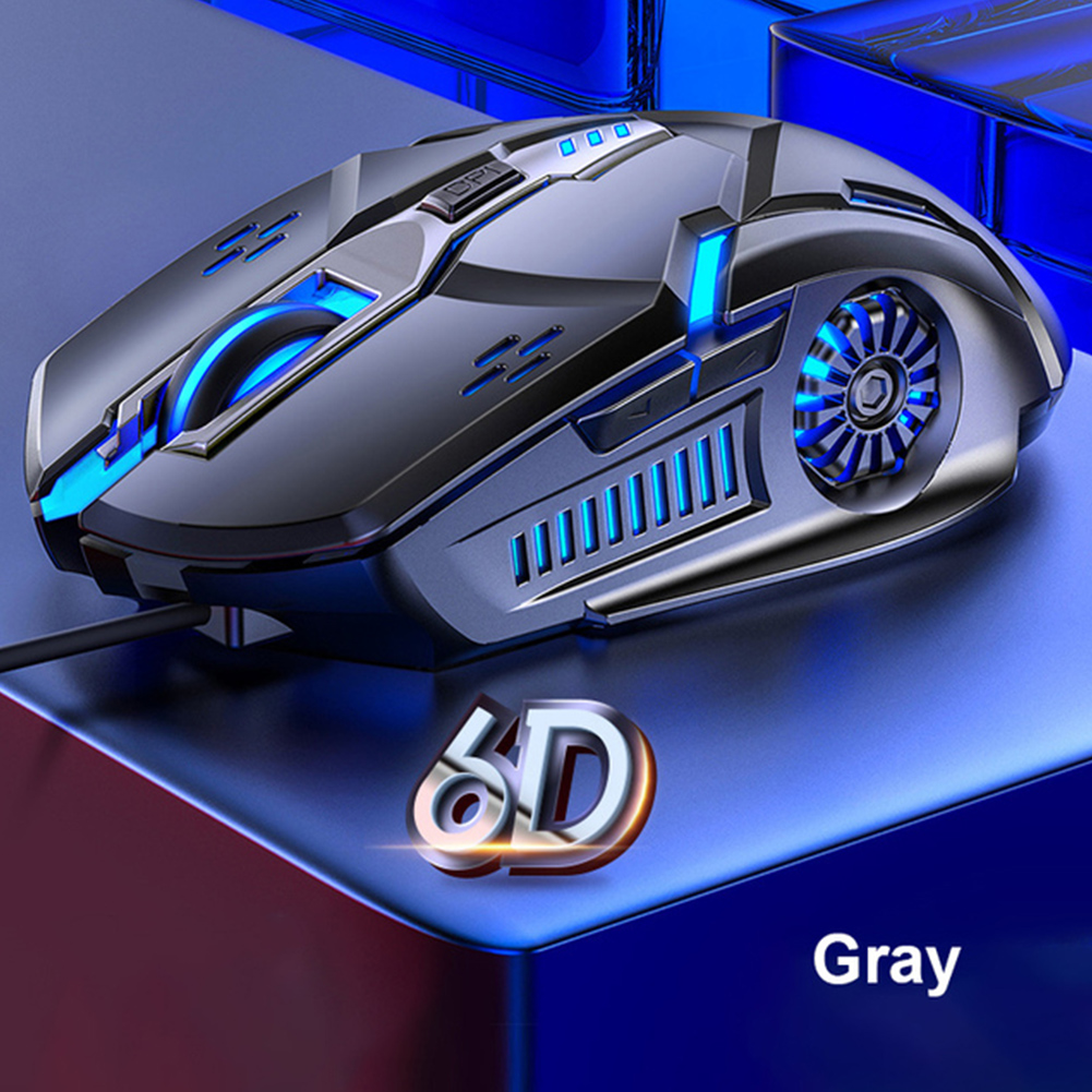 G5 Wired Gaming Mouse Colorful Backlight 6 Button Silent Mouse 4-speed 3200 DPI RGB Gaming Mouse Gray audio version