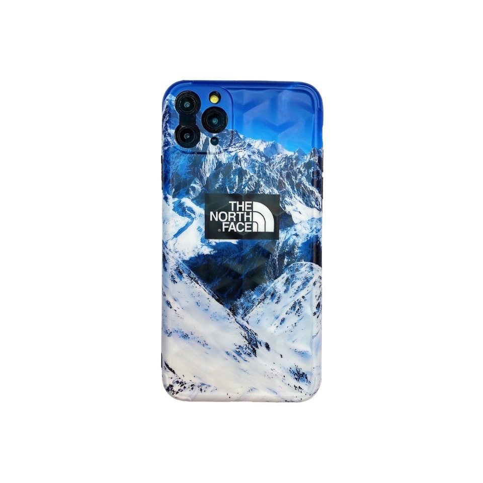 For Iphone 11 Mobile Phone Cover Tpu Y-shaped 3d Stereo Soft Protective Case Blue North Snow Mountain