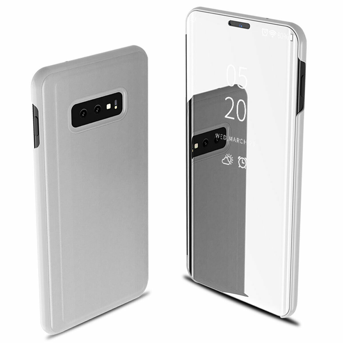 For Samsung Galaxy S10/S10 Plus/S10E Smart Leather Flip Mirror 360 Phone Case Cover Silver
