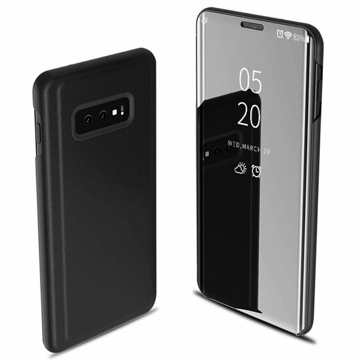 For Samsung Galaxy S10/S10 Plus/S10E Smart Leather Flip Mirror 360 Phone Case Cover black