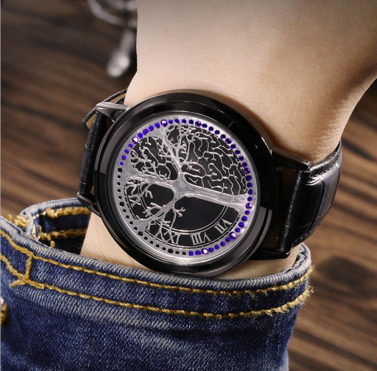 LED Fashion Men Women Waterproof Sports Wrist Watch with Leather Band Black S