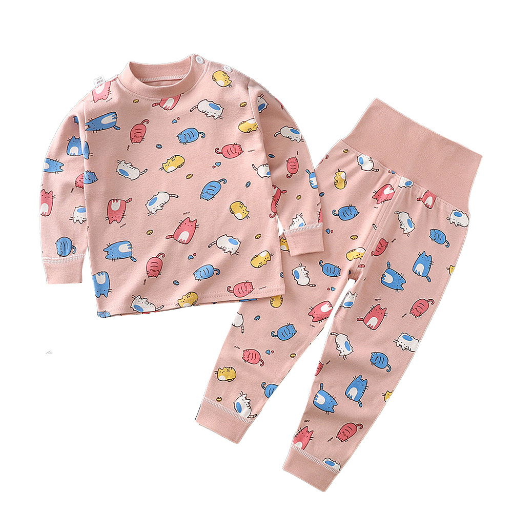 2Pcs/Set Kids Home Wear Cotton Long Sleeve Tops High Waist Pants for Baby Girls Boys Pink_100