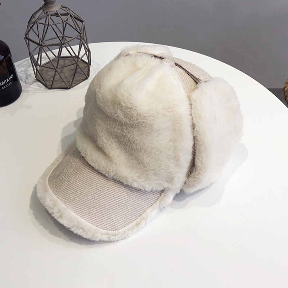 Women Thickened Plush Baseball Cap Sweet Style All Cute Ear Protection Warm Hat Beige_M (56-58cm)