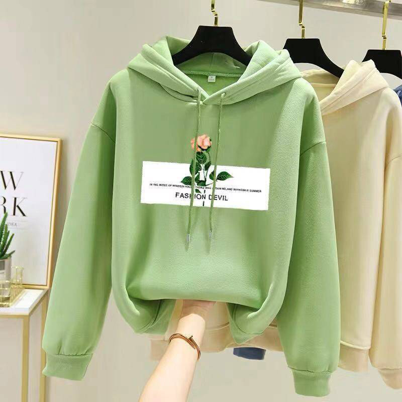 Women Fleece Lined Long-Sleeved Thicken Hoodie for Students in Autumn Winter Dark green_M
