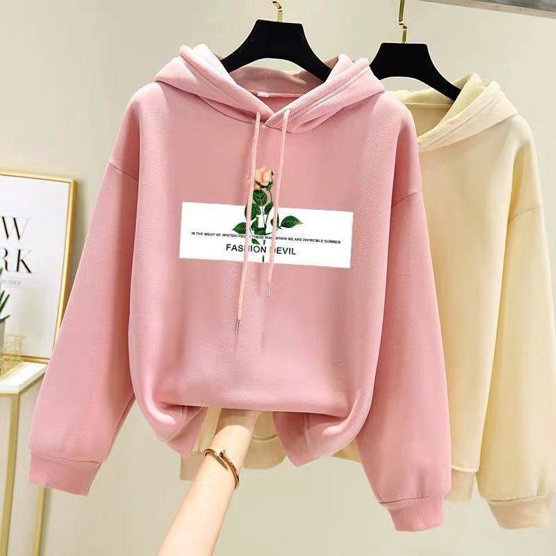 Women Fleece Lined Long-Sleeved Thicken Hoodie for Students in Autumn Winter Pink_L