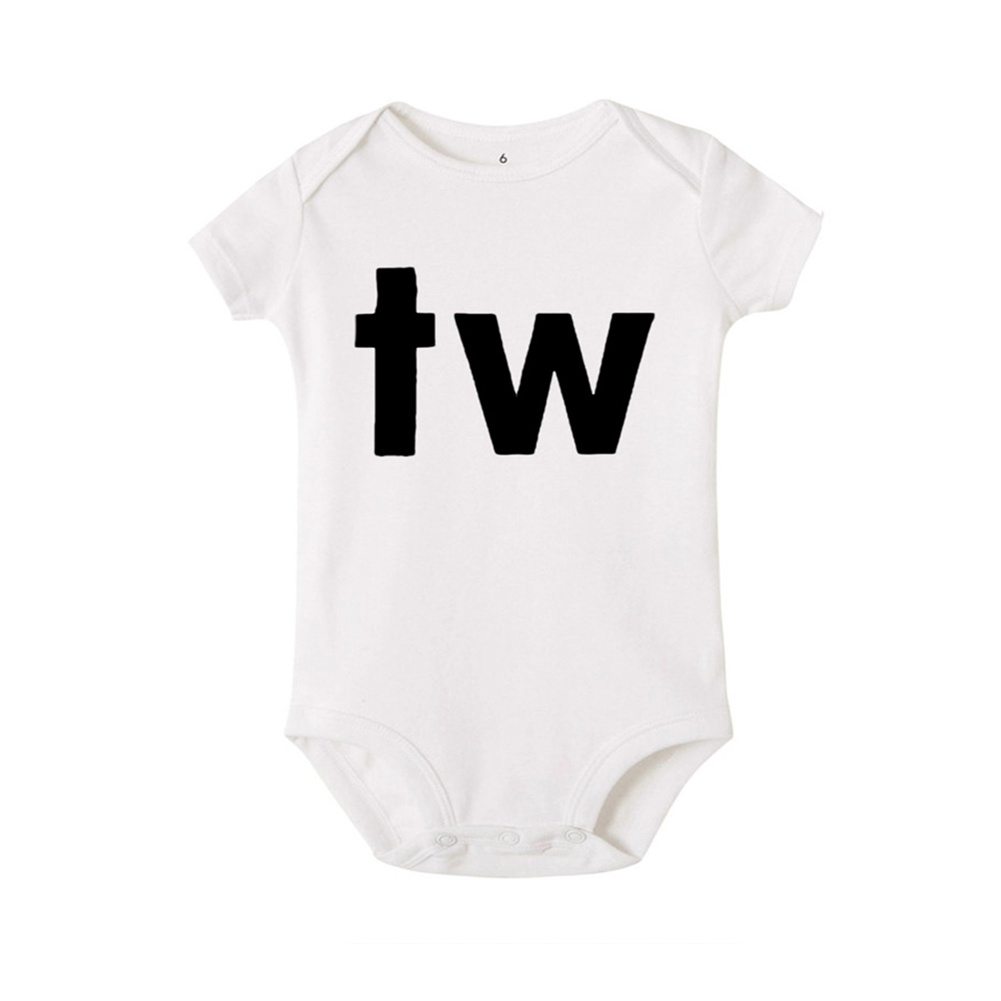 Baby Jumpsuit Cotton Alphabet  Printed Long-sleeveRomper for 0-18M Babies White tw_M