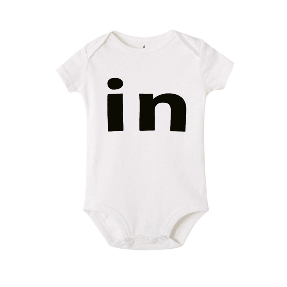 Baby Jumpsuit Cotton Alphabet  Printed Long-sleeveRomper for 0-18M Babies White in_S