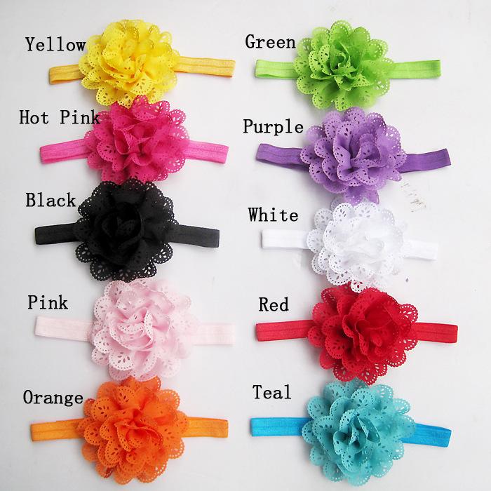 10Pcs/Pack Baby Girls Headbands Newborn Toddler Hollow Out Flower Headdress