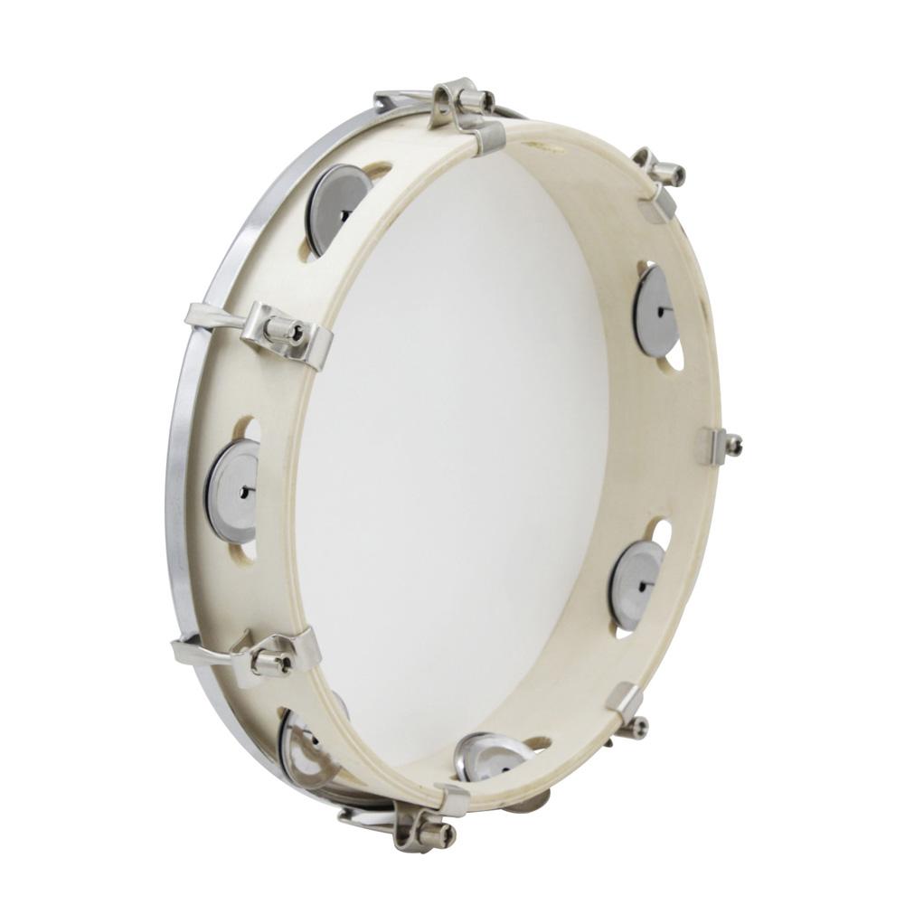 10in Tambourine Capoeira Drum Wooden Music Instrument white_10 inches