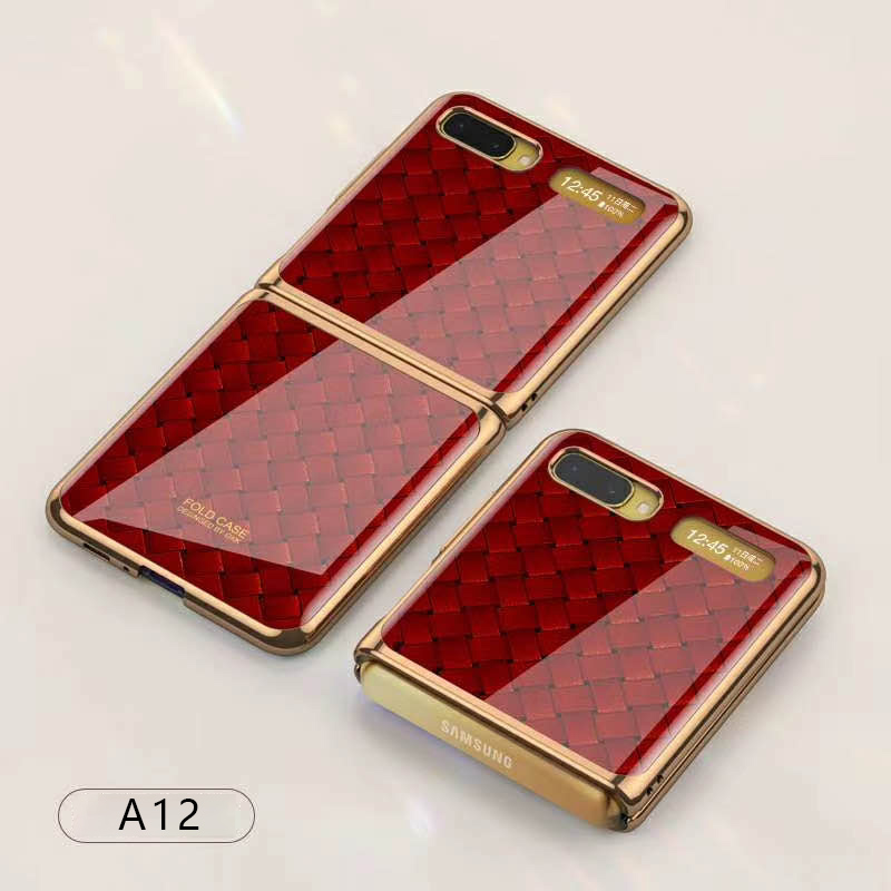 For Samsung Galaxy Z flip Foldable Cellphone Shell Electroplated Painted Folding Phone Case A12 woven red pattern