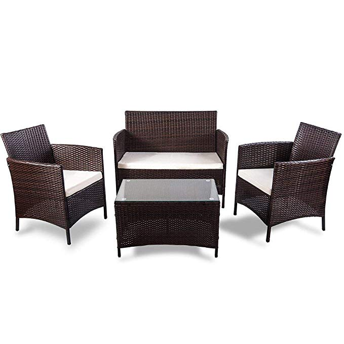 [US Direct] 4 Piece Rattan Sofa Seating Group With Cushions