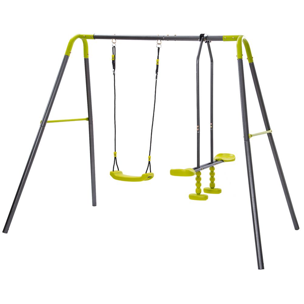 [US Direct] 1 Set 2  In  1  Backyard  Metal  Swing  Set Heavy-duty A-frame Height Adjustment Swing Gray