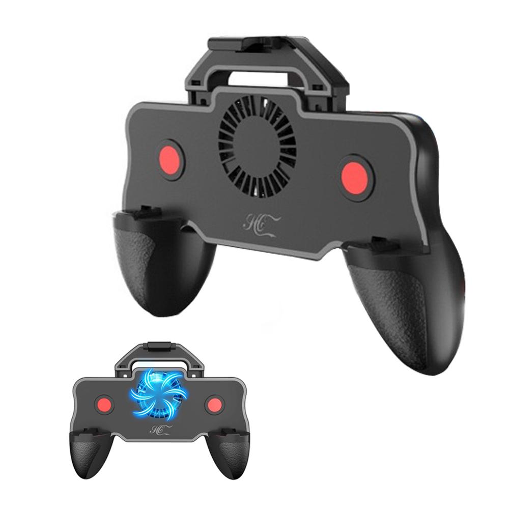 Multifunctional Ergonomic Design Game Handle Smartphone Universal Fan Cooling Handle black