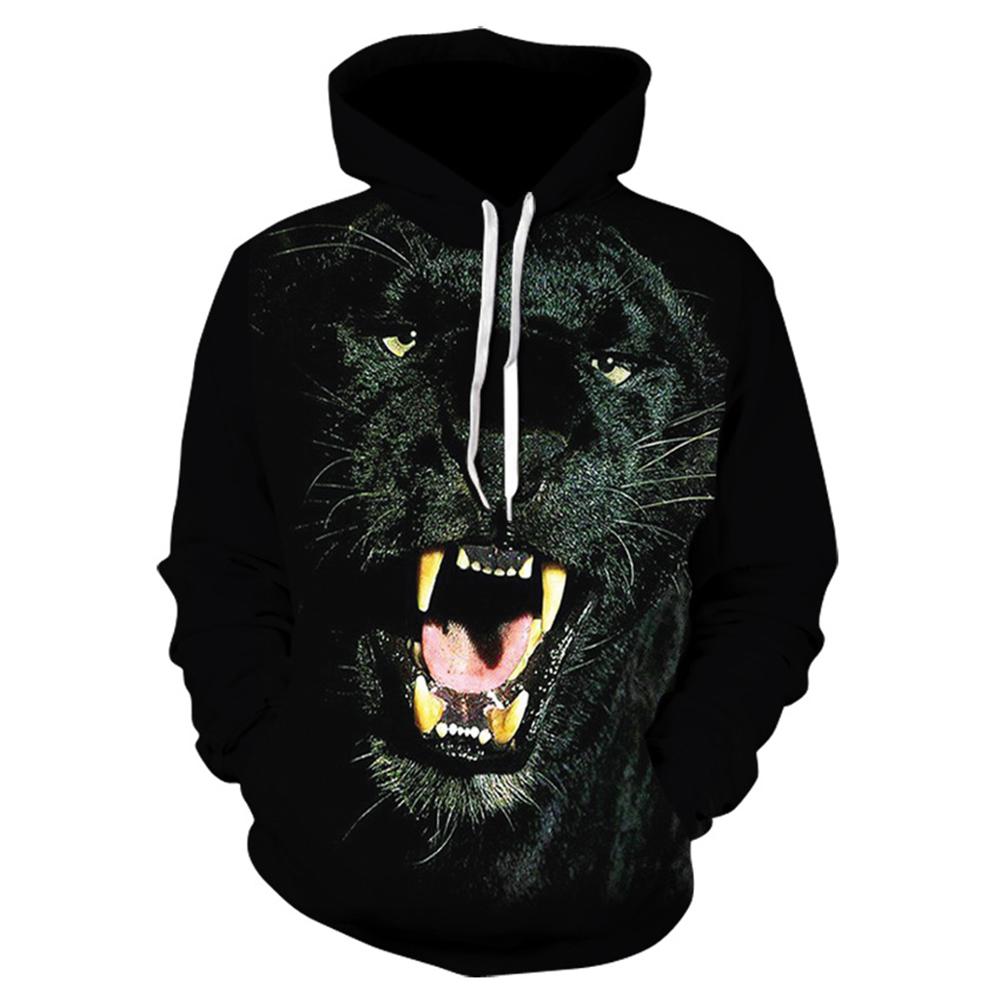 Unisex Vivid Color 3D Digital Panther Print Hoodies Casual Long Sleeves Sweatshirts Hooded Hip Hop Outerwear  WE136_XXXL