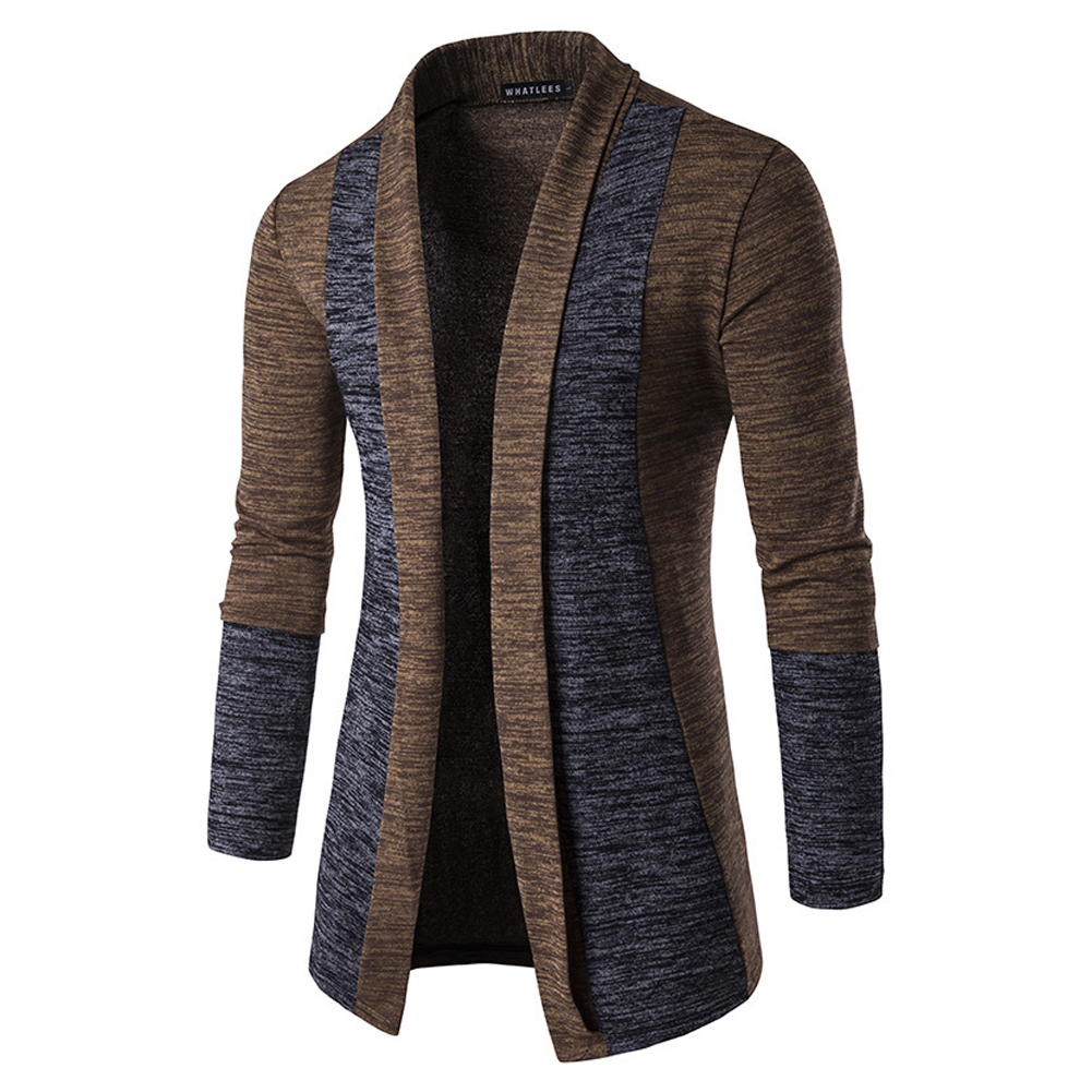 Long Sleeve Knitted Sweater Shawl Ruffle Collar Long Length Cape Coat Cardigan for Man Brown_M