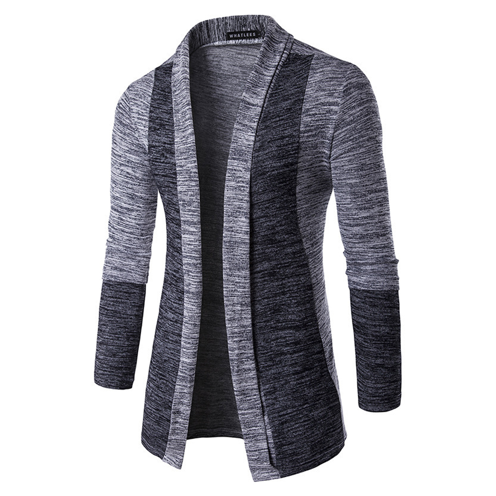 Long Sleeve Knitted Sweater Shawl Ruffle Collar Long Length Cape Coat Cardigan for Man light grey_XXL