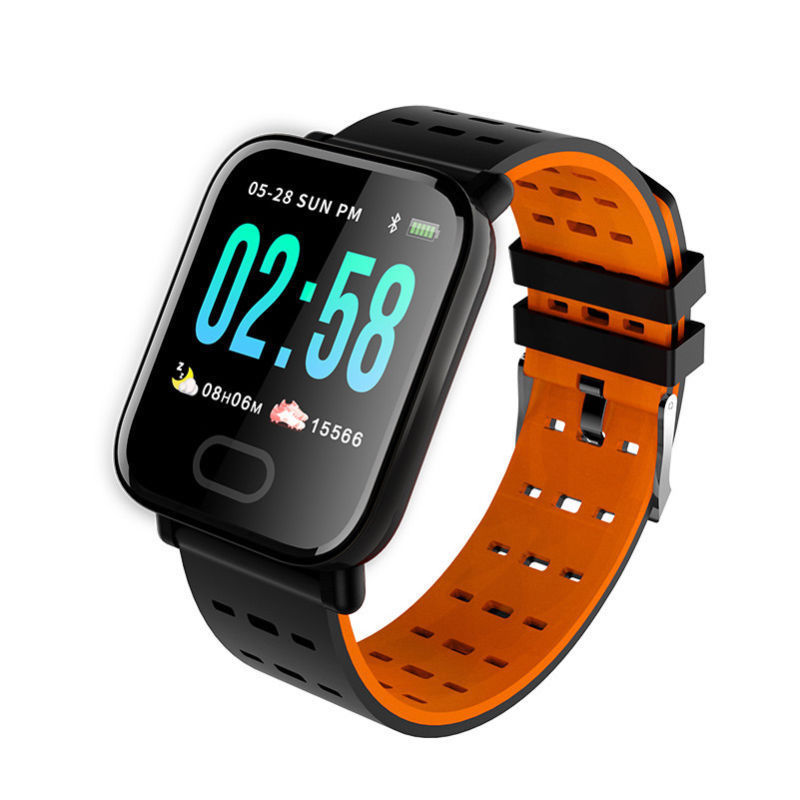 A6 IP67 Waterproof Smart Watch Heart Rate Monitor Bracelet Wristband for Android iOS Orange