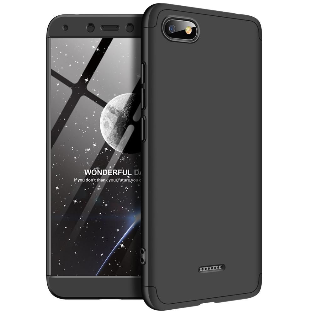 [Indonesia Direct] For XIAOMI Redmi 6A Ultra Slim PC Back Cover Non-slip Shockproof 360 Degree Full Protective Case black_XIAOMI Redmi 6A