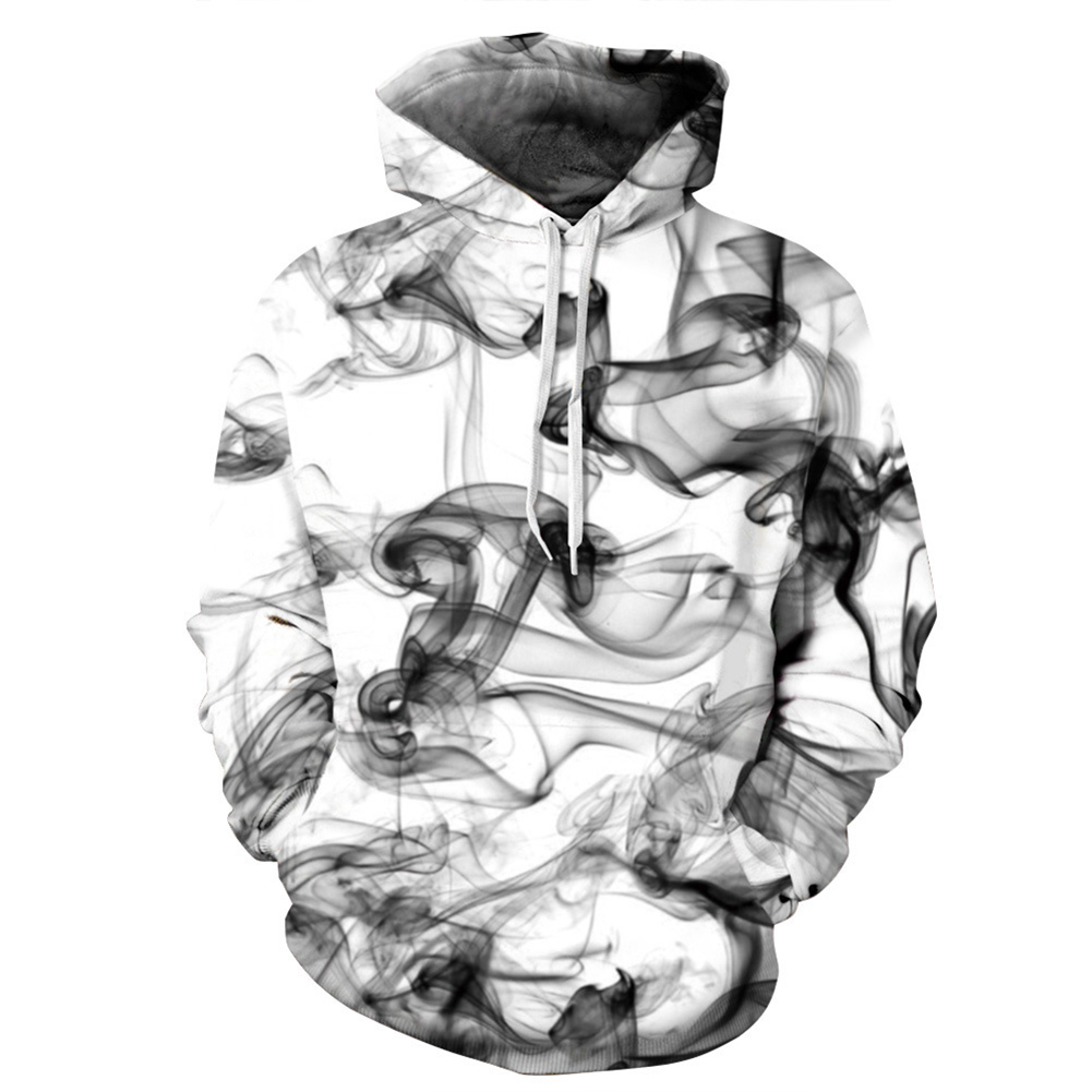 Unisex 3D Foggy Digital Printing Hoodies Fashion Drawstring Pullover Sweatshirt Tops Foggy_M