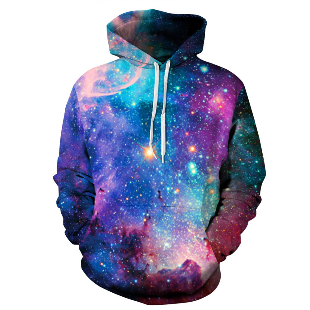3D Print Starry Design Hoodie Cool Casual Long Sleeve Hooded Pullover Sweatshirt Top Starry sky_L