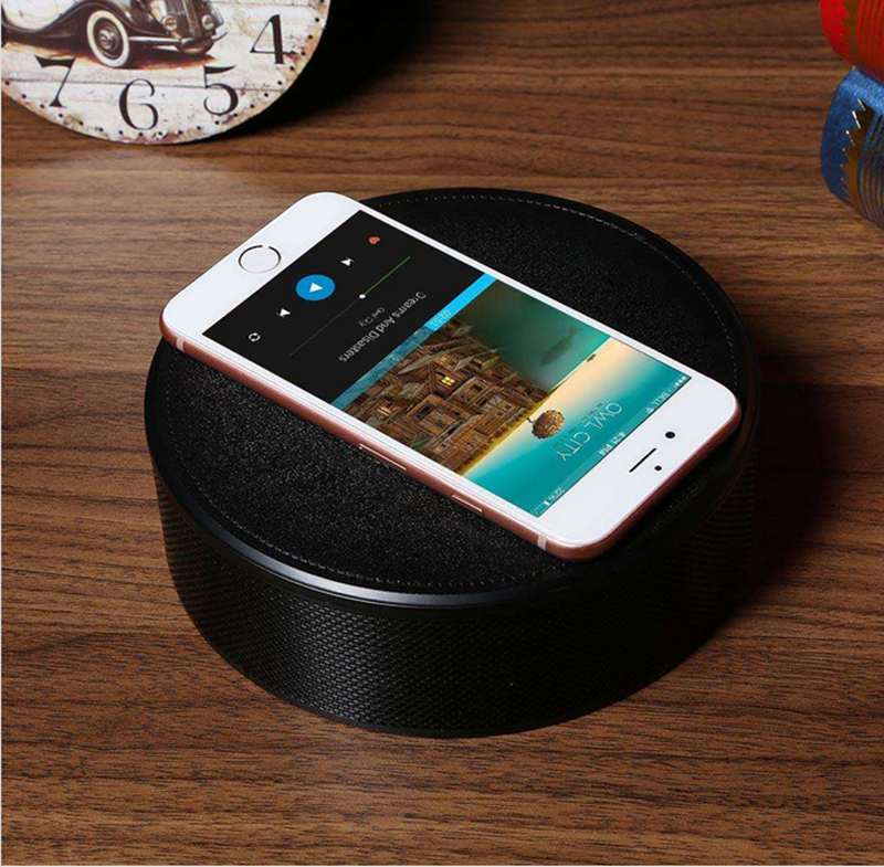 Wireless Bluetooth Speaker - Wireless Charger, NFC, TF Card Slot, FM, AUX In, Clock Alarm, Built-in Microphone (Black)