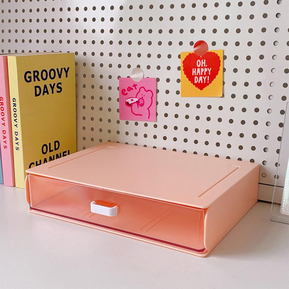 Desktop  Storage  Box Acrylic Drawer Type Dust-proof Shelf Stationery Sorting Household Box 1#Orange single layer large grid